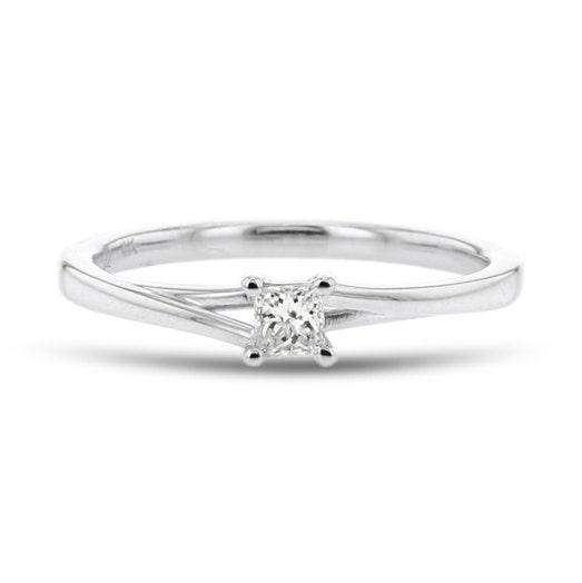 Diamond Split Shoulder Promise Ring, Princess, 14K White Gold, .14TDW