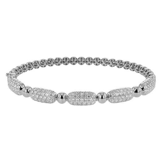 Diamond Pavé Station Beaded Bracelet, 18K White Gold