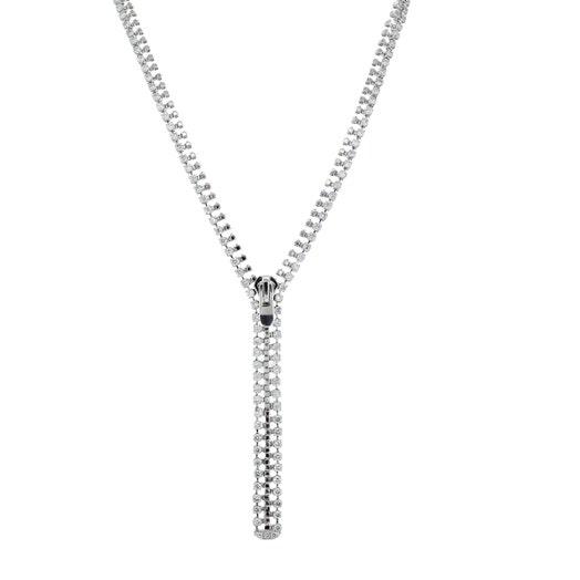 18K White Gold Diamond Accented Zipper Necklace