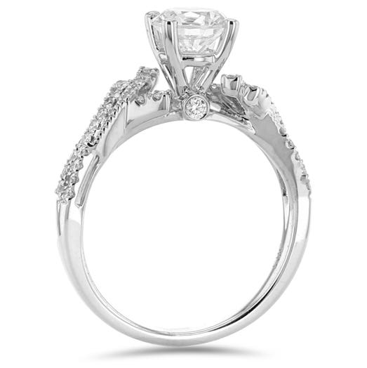 14K White Gold Diamond Accent Engagement Ring Setting, TWT .28