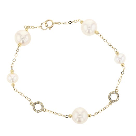 14K Yellow Gold Freshwater Cultured Pearl and Diamond Station Bracelet, Twt .05