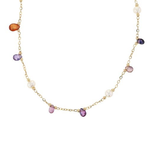 18K Yellow Gold Freshwater Cultured Pearl and Sapphire Station Adjustable Necklace