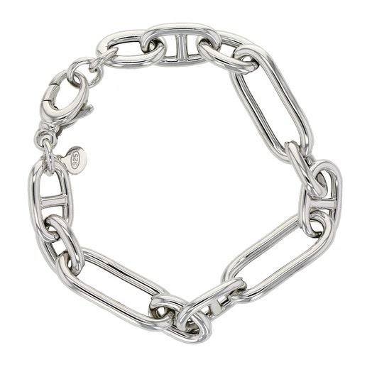 "Sterling Silver Mixed Link Bracelet, 7.5"""
