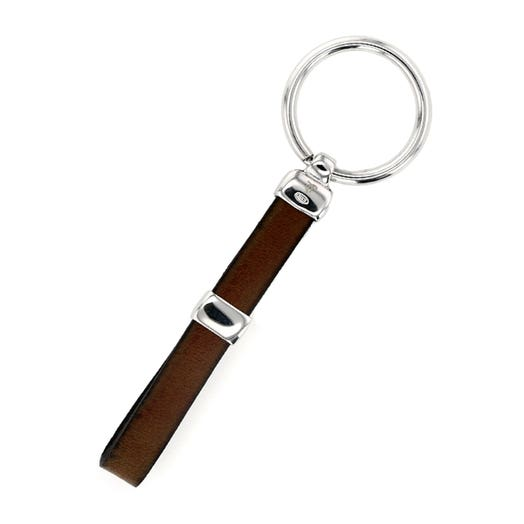 Sterling Silver Brown Leather Key Chain