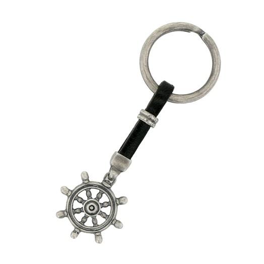 Sterling Silver Black Leather Ship Wheel Key Chain