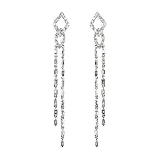 18K White Gold Elegant Diamond Double Drop Earrings, TWT 2.27