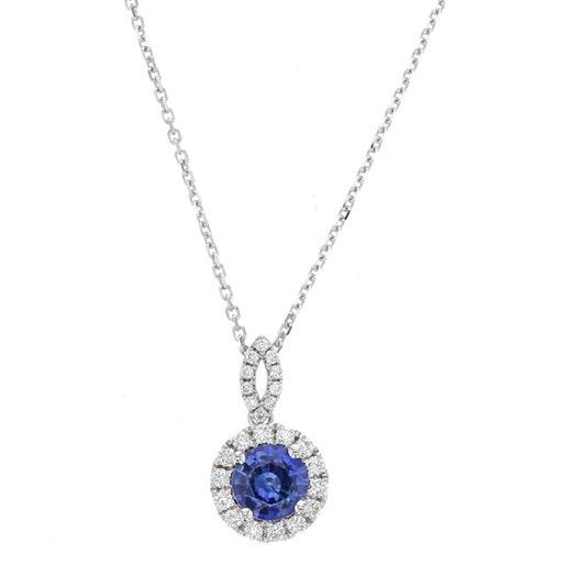 14K White Gold Round Sapphire Pendant with Diamond Halo, TDW.24
