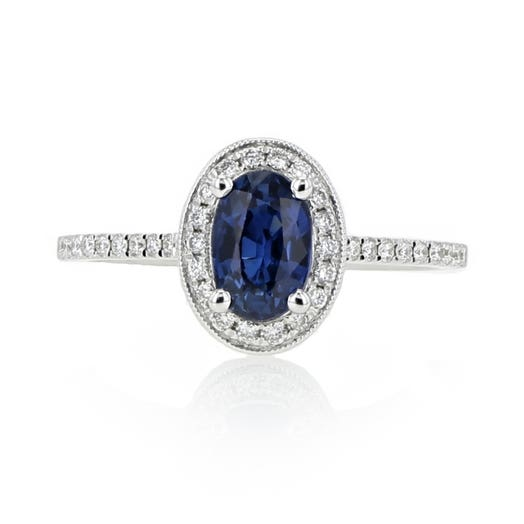 Blue Sapphire and Diamond Halo Ring, Oval, 14K White Gold, TWT.18