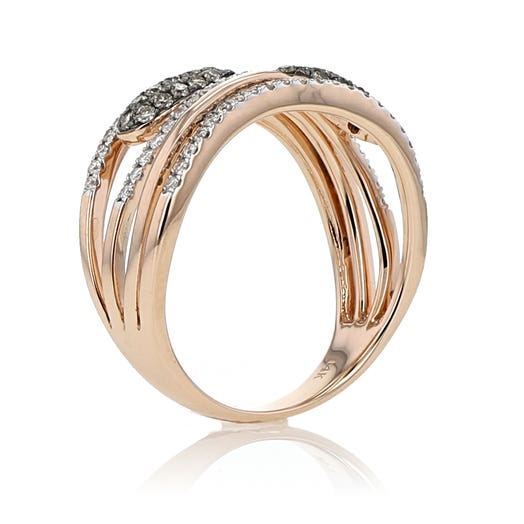14K Rose Gold Natural Brown and White Diamond Fashion Band, TDW.53