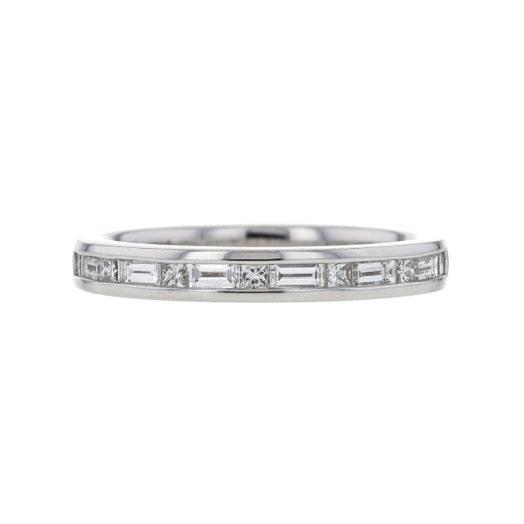 14K White Gold Channel Set Baguette & Princess Cut Diamond Band Ring, TWT .50