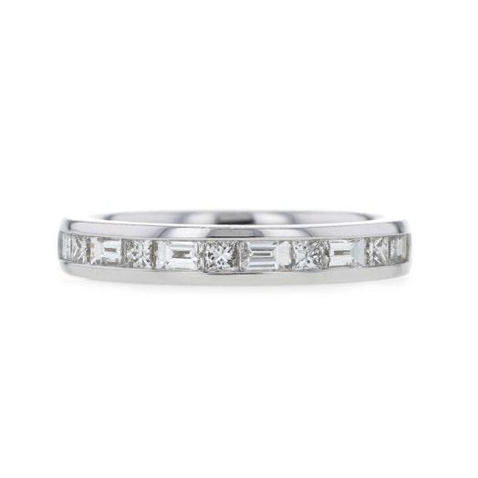 14K White Gold Channel Set Baguette & Princess Cut Diamond Band Ring, TWT .75