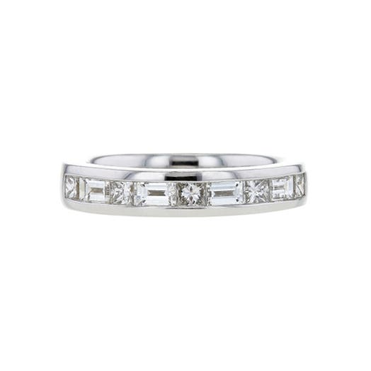 14K White Gold Channel Set Baguette & Princess Cut Diamond Band Ring, TWT 1.01