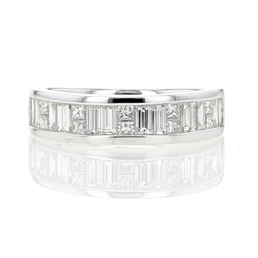 14K White Gold Channel Set Double Baguettes & Princess Cut Diamond Band Ring, TWT 1.01