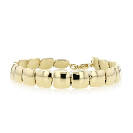 14K Yellow Gold Double Sided Cushion Bracelet