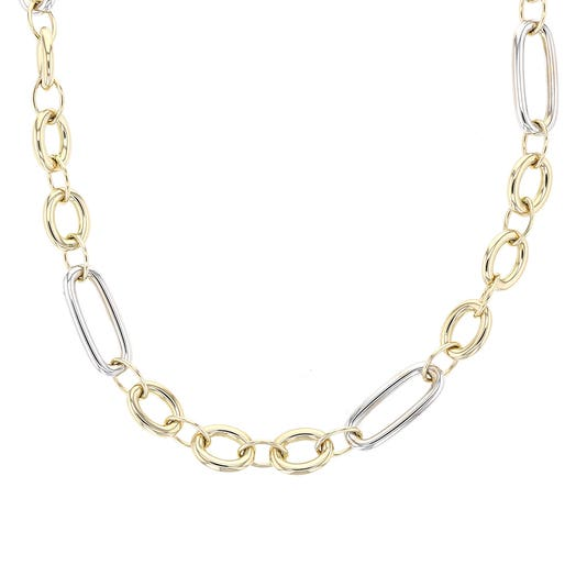 14K Two-Tone Gold Mixed Link Necklace, 17.5""