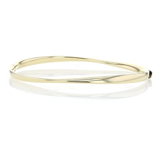 14K Yellow Gold Wave Bangle