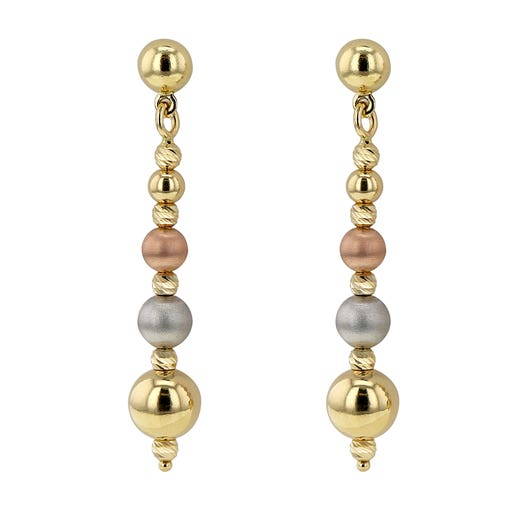 Allora 18K Tri-Color Gold Four Satin Bead Drop Earrings