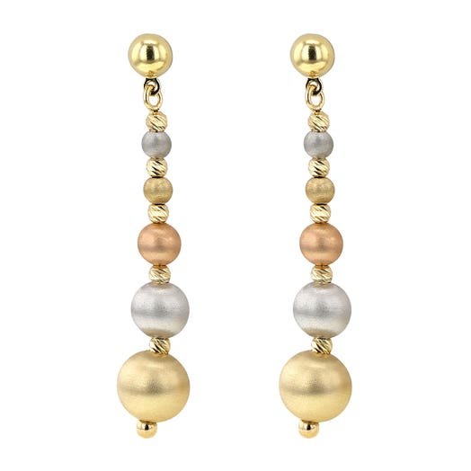 Allora 18K Tri-Tone Color Five Satin Bead Drop Earrings