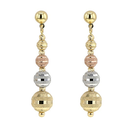 Allora 18K Tri-Color  Glitter Four Bead Drop Earrings