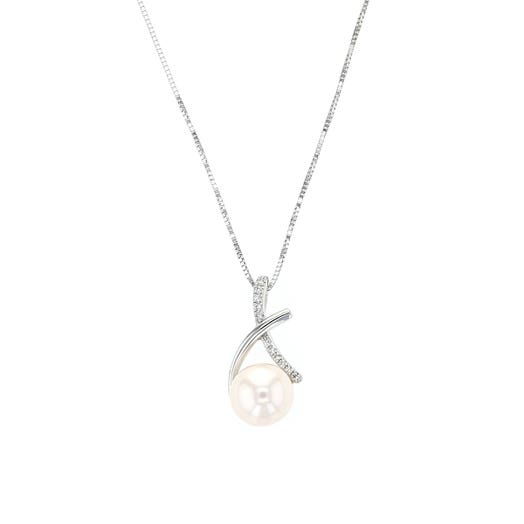 """14K White Gold Freshwater Cultured Pearl, Diamond """"X"""", Pendant Necklace, TWT.03"""