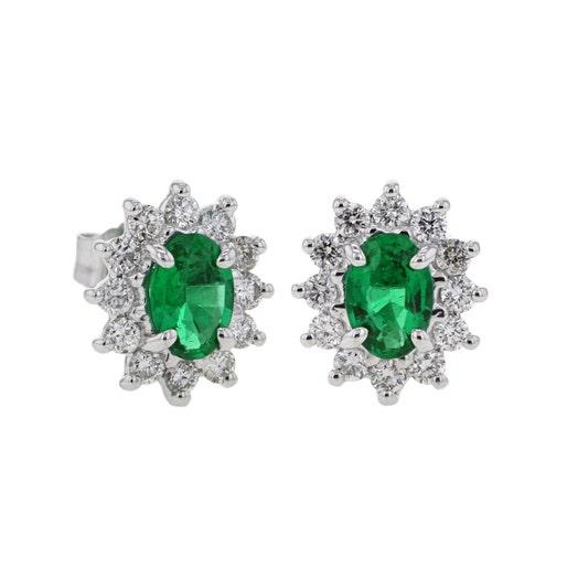 14K White Gold Oval Emerald Stud Earrings with Diamond Starburst Halos