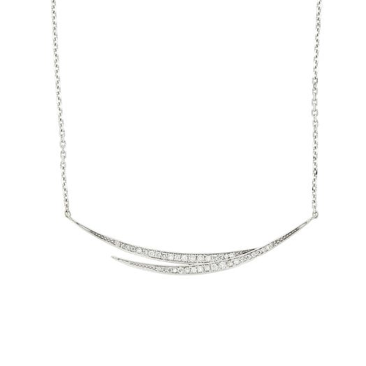 14K White Gold Split Curved Diamond Necklace, TWT.18