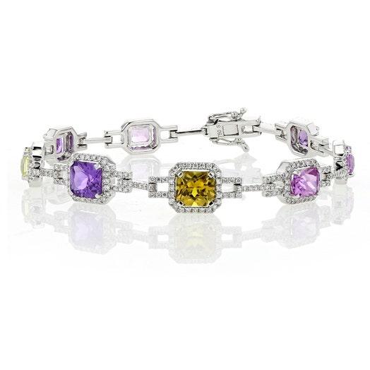 18K Gold Multi-Colored Sapphire and Diamond Halo Bracelet, TWT 1.75