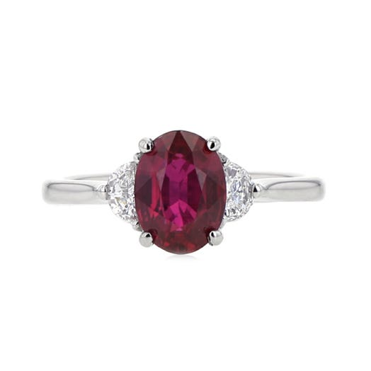 Oval-Cut Ruby and Half-moon Diamond Three-Stone Ring in Platinum