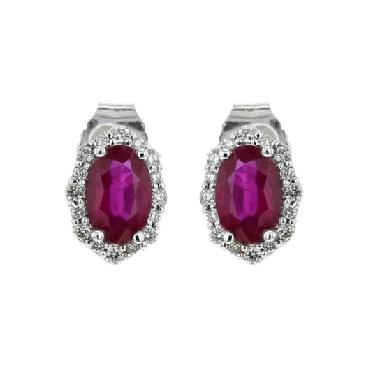 14K White Gold Oval Ruby Stud Earrings with Diamond Halos, TDW.11