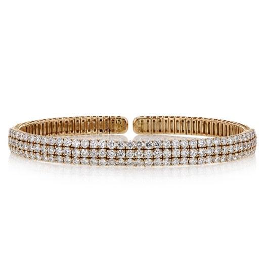 18K Rose Gold Three-Row Diamond Cuff Bracelet, TWT 4.50