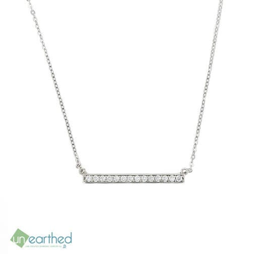 Unearthed Lab Grown Diamond Bar Necklace, 10K White Gold, TWT .25