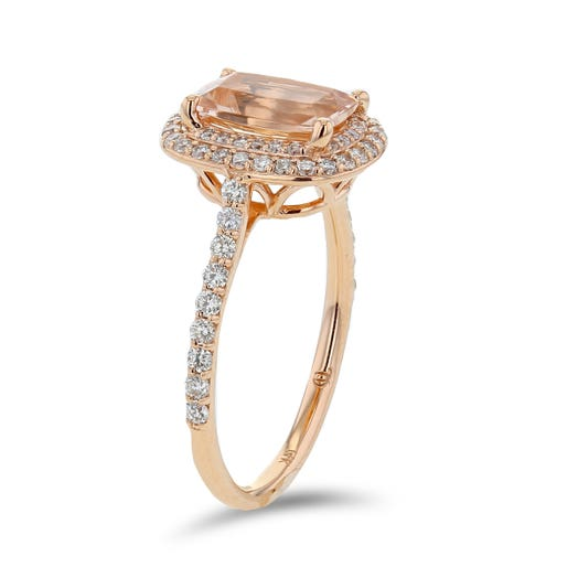 14K Rose Gold Cushion-Cut Morganite Ring with Diamond Halo, TWT.42