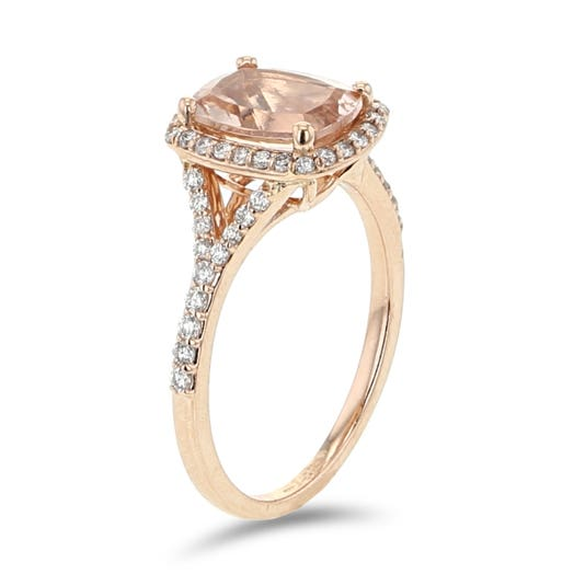 14K Rose Gold Cushion-Cut Morganite Ring with Diamond Halo, TDW.30