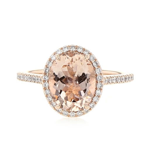 14K Rose Gold Oval-Cut Morganite Ring with Diamond Halo. TDW.29