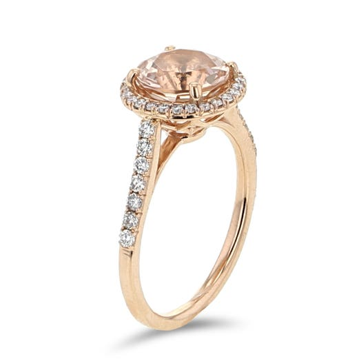 14K Rose Gold Morganite and Diamond Halo Ring, TDW.32