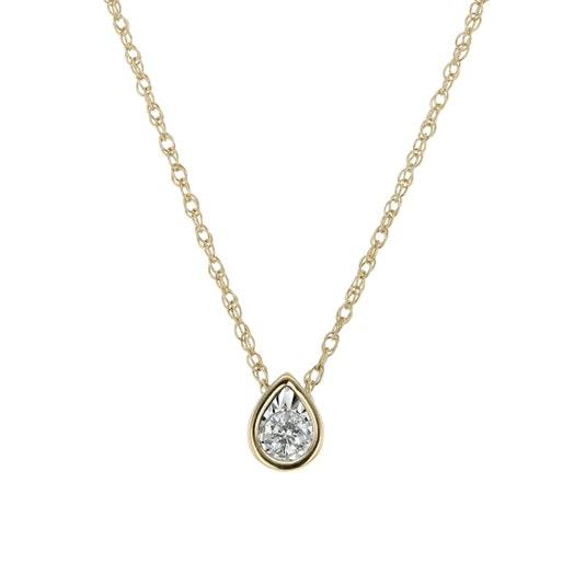 14K Yellow Gold Bezel Set Tear Drop Necklace, TWT .10