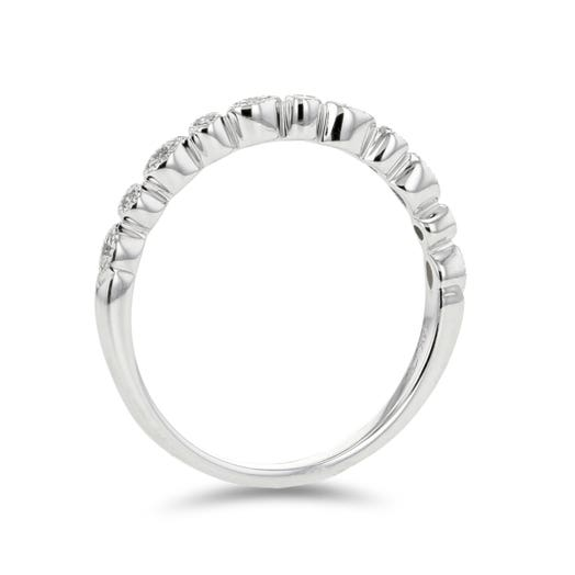 14K White Gold Stackable Diamond Band Ring, TWT .04