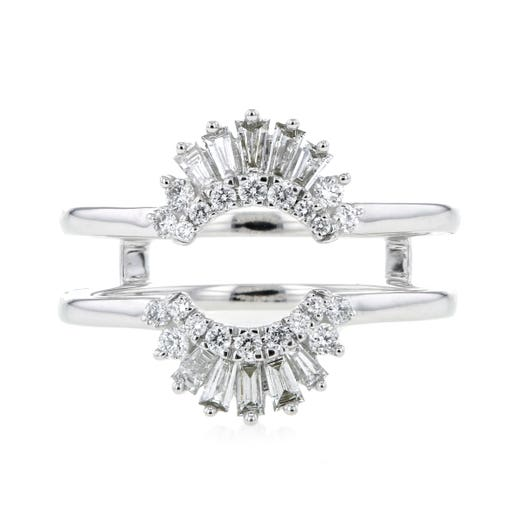 14K White Gold Round and Baguette Diamond Insert Ring, TWT.47