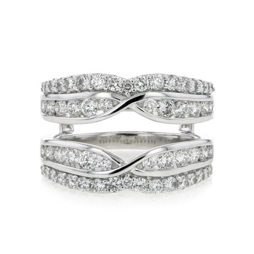 14K White Gold Insert Ring with Double Diamond Rows and Intertwined Design, TWT 1.50