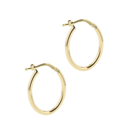 14K Yellow Gold Polished Rounded Geo Hoop Earrings