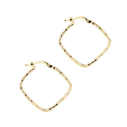 yellow gold square bias set hoop with braided design