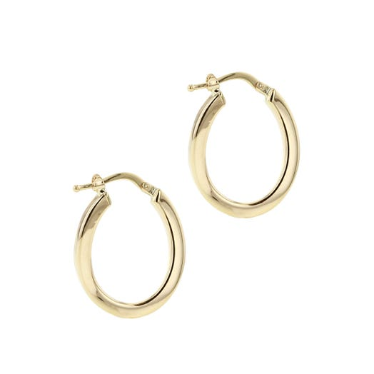 yelow gold small wavy hoop earrings with latch back closures