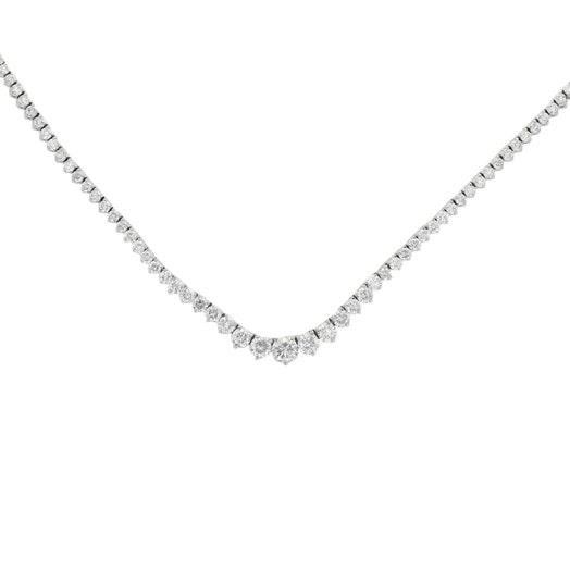14K White Gold 9.44 Carat Diamond Tennis Necklace