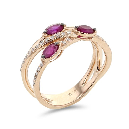 rose gold crossover ring with oval cut rubies and diamond accents