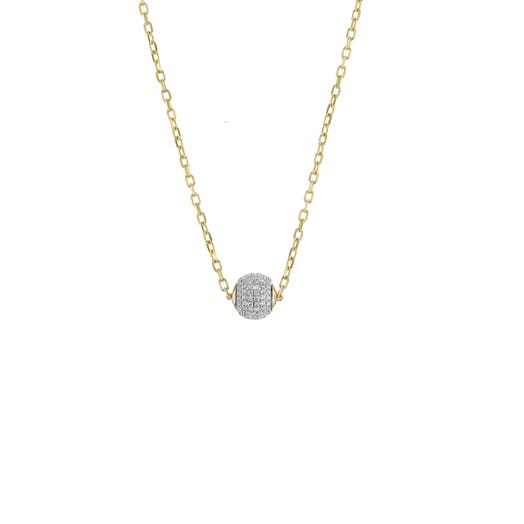 14k yellow gold diamond ball necklace