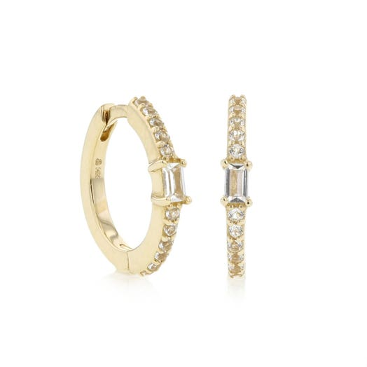 yellow gold mini hoops with white topaz baguettes