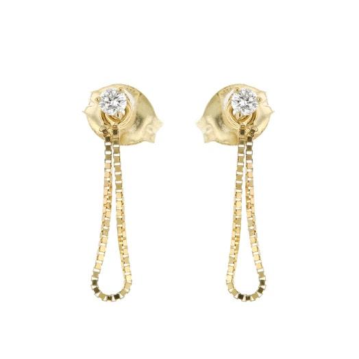 Little Luxuries 14K Yellow Gold Chain Loop Diamond Stud Dangle Earrings