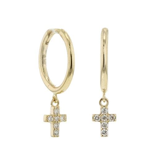 Little Luxuries 14K Yellow Gold Diamond Cross Dangle Mini Hoop Earrings