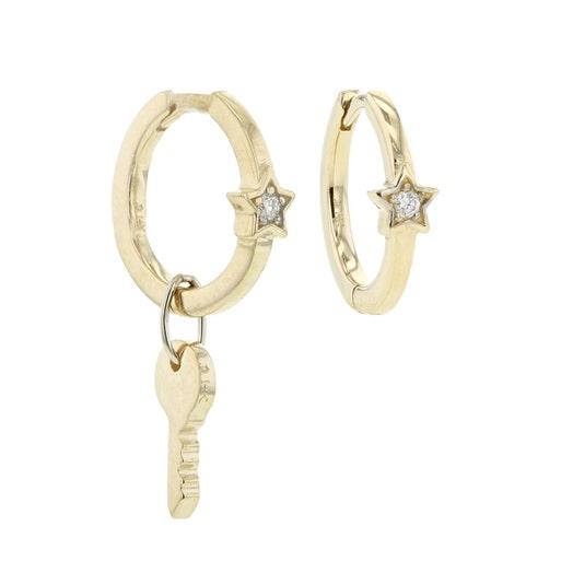 Little Luxuries 14K Yellow Gold Star & Key Mini Hoop Earrings
