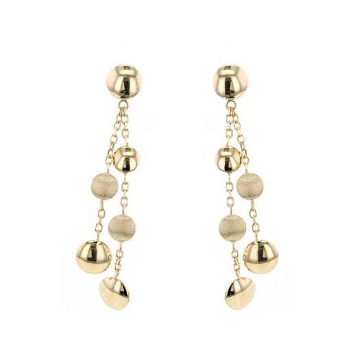 14K Yellow Gold Spaced Beaded Dangle Earrings